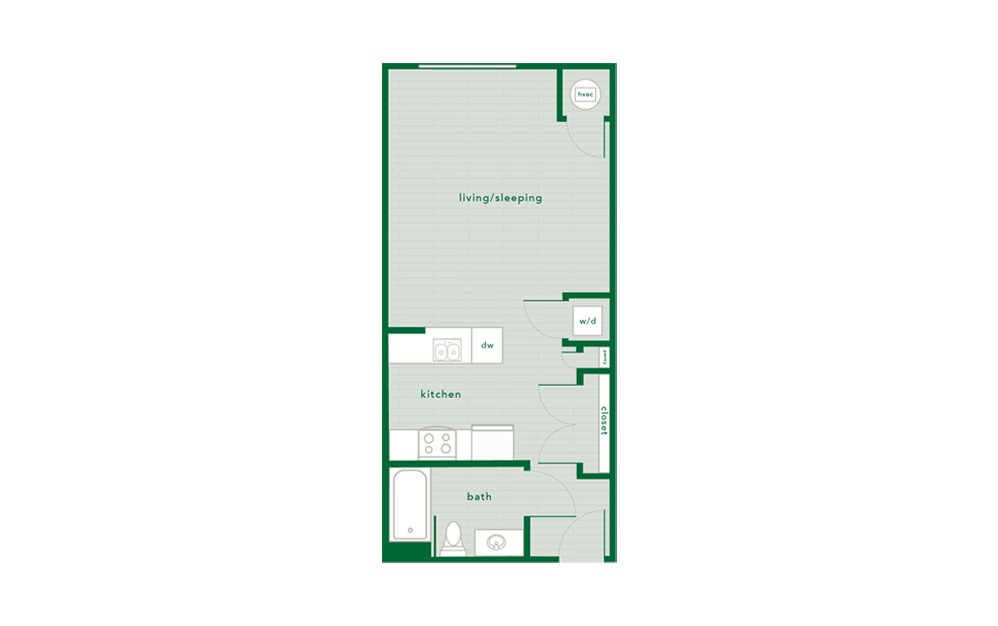 Birch - Studio floorplan layout with 1 bath and 496 square feet.