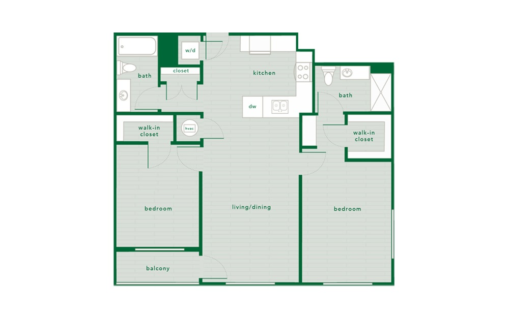 Holly - 2 bedroom floorplan layout with 2 baths and 1088 to 1097 square feet.