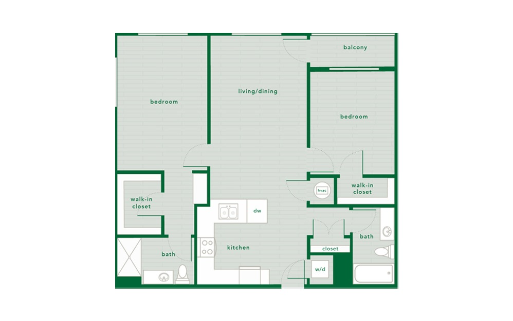 Hickory - 2 bedroom floorplan layout with 2 baths and 1134 to 1143 square feet.