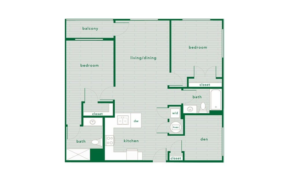 Sugar Maple - 2 bedroom floorplan layout with 2 baths and 1134 to 1143 square feet.