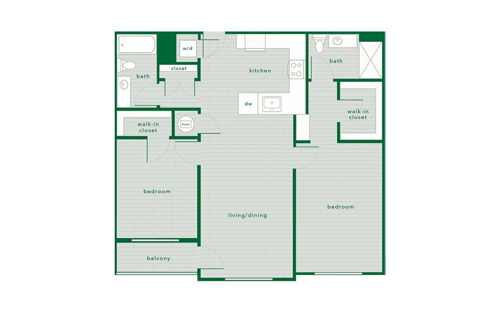 Hemlock - 2 bedroom floorplan layout with 2 baths and 1136 square feet.