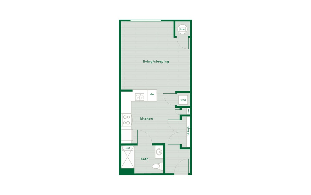 Birch Handicap Accessible - Studio floorplan layout with 1 bath and 496 square feet.