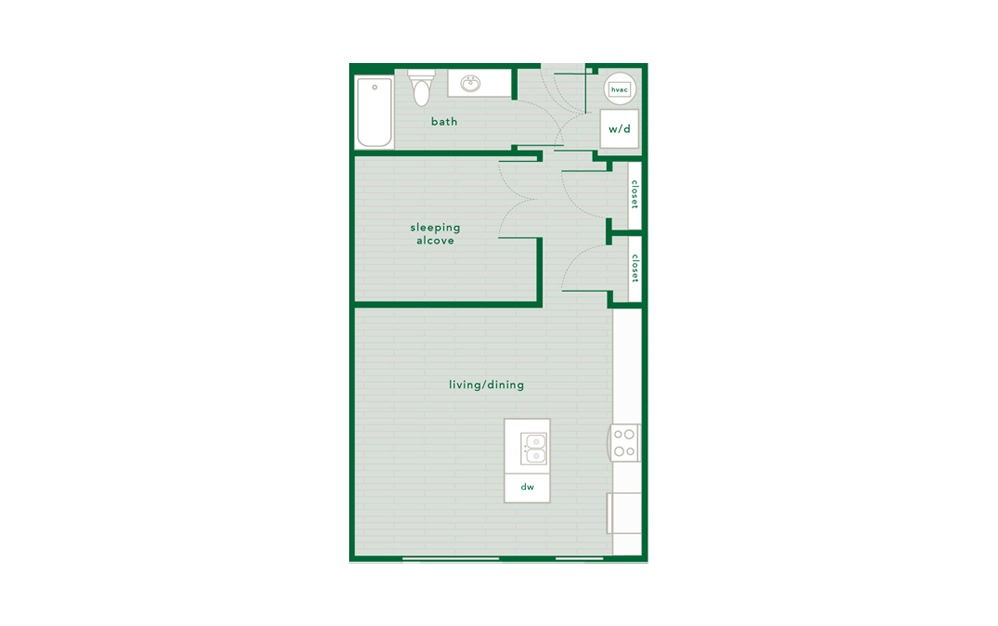 Dogwood - Studio floorplan layout with 1 bath and 645 square feet.