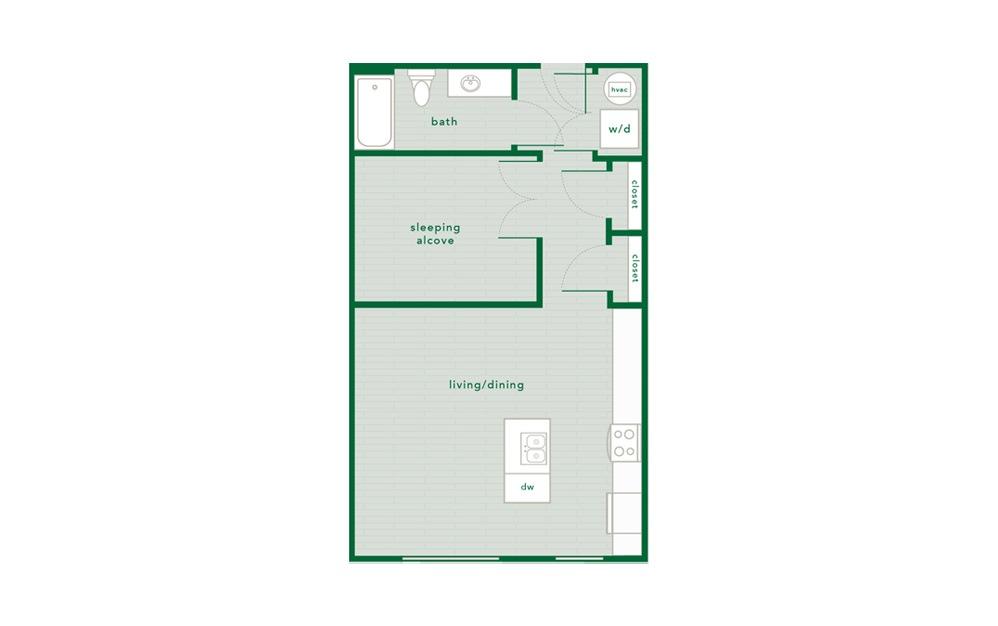 Dogwood - Studio floorplan layout with 1 bath and 645 square feet.