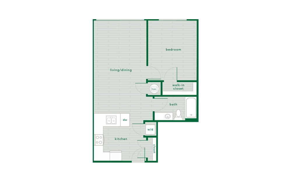 Sycamore - 1 bedroom floorplan layout with 1 bath and 703 to 711 square feet.