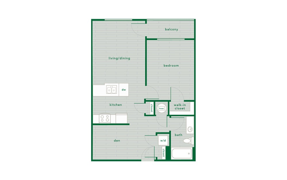 Spruce - 1 bedroom floorplan layout with 1 bath and 734 to 742 square feet.