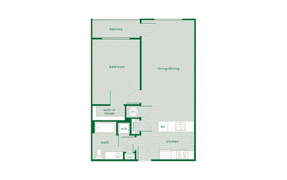 Sweetgum - 1 bedroom floorplan layout with 1 bath and 735 square feet.