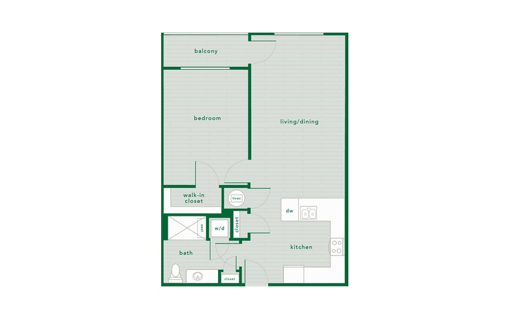 Sweetgum Handicap Accessible  - 1 bedroom floorplan layout with 1 bath and 735 square feet.