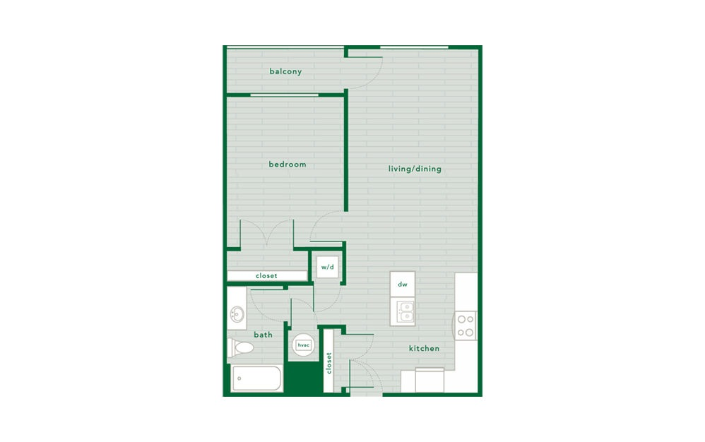Magnolia - 1 bedroom floorplan layout with 1 bath and 735 to 744 square feet.