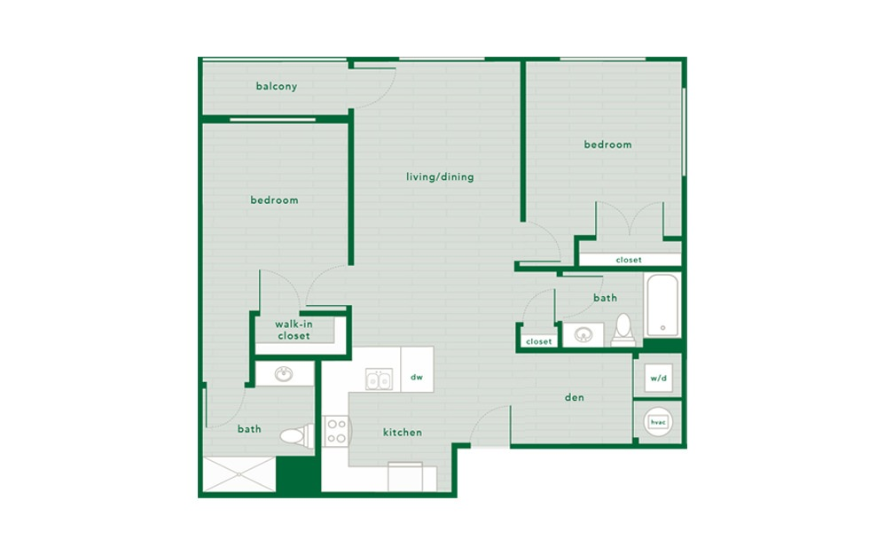 Maple - 2 bedroom floorplan layout with 2 baths and 1064 square feet.